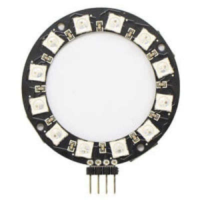 WS2812 串列全彩LED模組--圓形排列12 顆 (4Pin 排針90度-加強版)