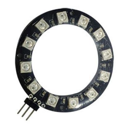 WS2812 串列全彩LED模組--圓形排列12 顆(3Pin 排針90度-加強版)(Do不焊接)