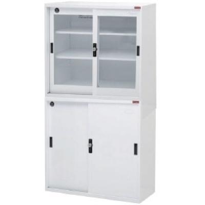 上層玻璃櫃.下層鐵櫃3尺W88xD40xH88cmx2個/組,附密碼鎖.底座