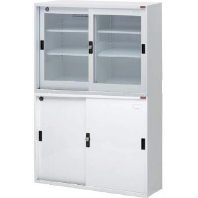 上層玻璃櫃.下層鐵櫃4尺W118xD40xH88cmx2個/組,附密碼鎖.底座