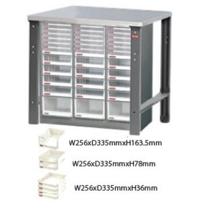 設備桌B型W102xD60xH93cm,桌下含36格高中低A4櫃