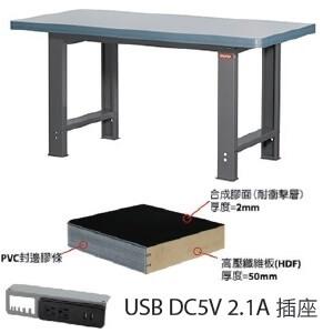 重型工作桌6尺W180xD75xH80cm,耐衝擊合成膠面