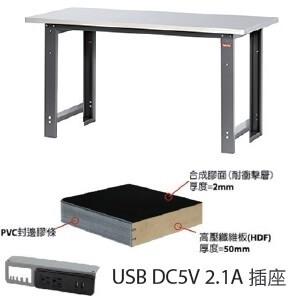 中型工作桌5尺W150xD75xH80cm,耐衝擊合成膠面