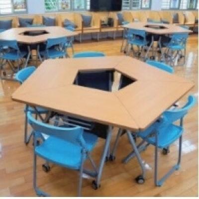 可掀式活動梯形桌4尺W142+57xD60xH74cm(一張)